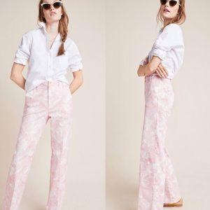 NWT $120 Anthropologie Pink/White Jamie Trouser 12